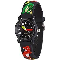 WOLFTEETH Analog Niños School Day reloj de Navidad con segunda mano Cool Small Face reloj resistente al agua deporte al aire libre Dinosaurio Negro 308103