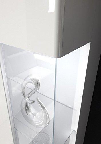 Dreams4Home Wohnzimmer Set 'Anisha' – Set, Glasvitrine, Hängevitrine, TV-Lowboard, Wandregal, Sideboard, Medienwand, Phono Möbel, Aufbewahrung, Wohnzimmer, in hochglanz weiß, Beleuchtung:2 x Unterbaubeleuchtung kalt weiß - 3