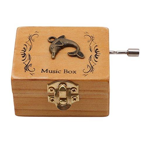 lnlyin Retro hölzerne Spieluhr Handkurbel Music Box Exquisite Verarbeitung, Holz, Delfin, Mini -