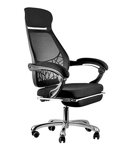 FZYQY Büro Computer Stuhl,Atmungsaktiver Mesh Ergonomischer Drehstuhl, Höhenverstellbar, Gekippter Rücken - mit Roller und Fußstütze (Schwarz)