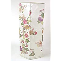 Umbrella Stand Ceramic Large Cream with Pink Flower Design Crackled Effect