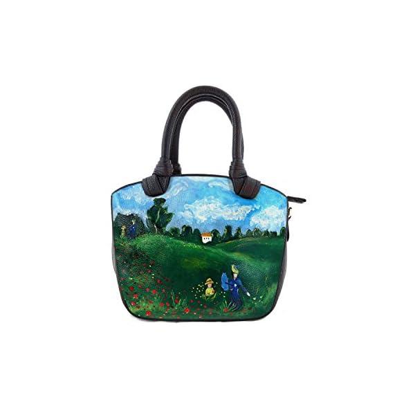Hand-painted genuine leather shoulder bag – POPPIES BY MONET - Women Bag, Hand Bag, Genuine Leather, Made in Italy, Painted Leather, Handbag and Shoulder Bag, Craftsmanship - handmade-bags