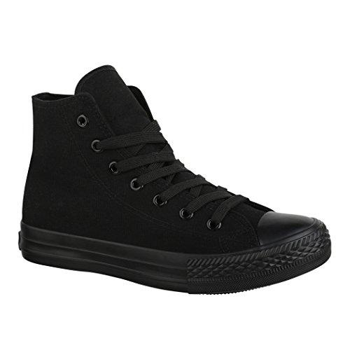Elara Unisex Sneaker Sportschuhe High Top Turnschuh Chunkyrayan ZY9031-12-A-Allblack-40 (Sportschuhe Top Sneaker High)