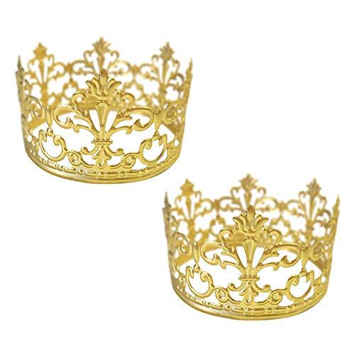 BESTONZON Tiara Krone/Gold Kuchen Topper Krone Haarschmuck Hochzeit Zubehör 2PCS goldfarben (Gold Tiaras Und Kronen)