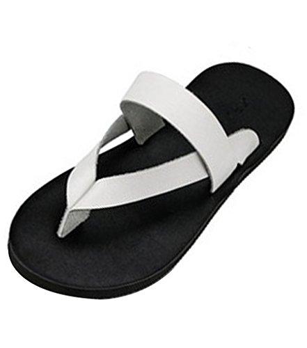 Sentao Unisex Flip Flops Leder PU Mode Zehentrenner Komfort Strandlatschen Schwarz 40 kz6LYB2B