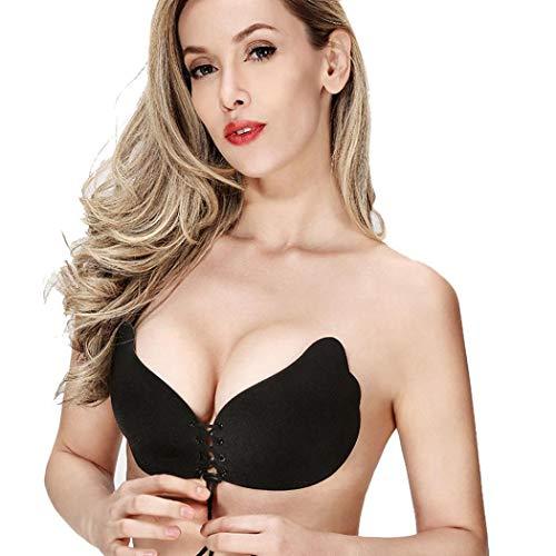 el der Göttin Instant Breast Lift unsichtbare Silikon Push Up BH(B,Schwarz) ()
