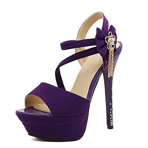 W&LM Signorina Tacchi alti sandali Fiori Strass Bocca di pesce bene Piattaforma impermeabile sandali Purple