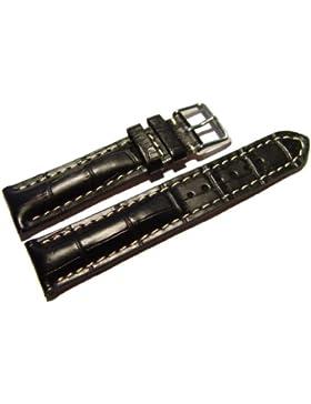 Orig. Watchband Berlin - Uhrenarmband - stark gepolstert - Kroko Prägung - schwarz - 20mm