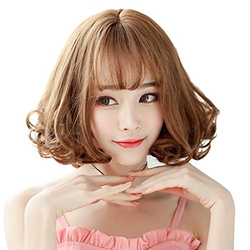 Axiba Perücke Mädchen Honig Kurze Haar Welle Kopf Birne Kopf Luft knallt lebensechte Flauschige Chemiefasern Haar Perücke -