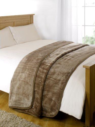 Dreamscene Couvre-lit luxueux - En polaire - Pour lit et canapé - Chaud et doux - Vison - Taille king-size - 200 x 240 cm