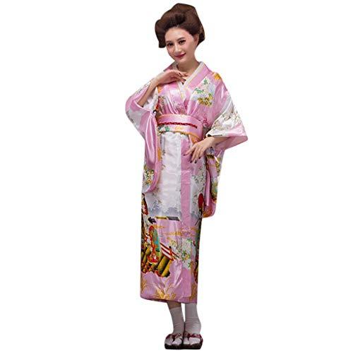 Lazzboy Frauen Print Kimono Traditionelles Japanisches Kleid Fotografie Cosplay Kostüm Kirschblüten Anime Japanischen Kleider Kleidung Halloween(Rosa,One Size) (Freche Ninja Kostüm)