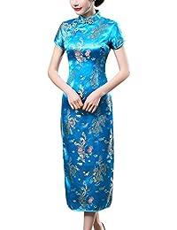 Laogudai Abito Cinese Donna Qipao Manica Corta Modello Drago e Phoenix Abito  Tradizionale Asiatico Cheongsam per 5d7f82cad73
