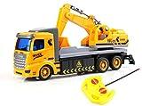 Ferngesteuerter LKW RC Baustellenfahrzeug mit Baggeraufbau Bagger Kran mit Fernsteuerung Super schönen Details für kleine und große Kinder Tolles Geschenk zu Weihnachten