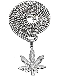 Tossi 24K Yellow Gold Color Jewelry Cannabis Weed Marijuana Leaf Pendant Halskette