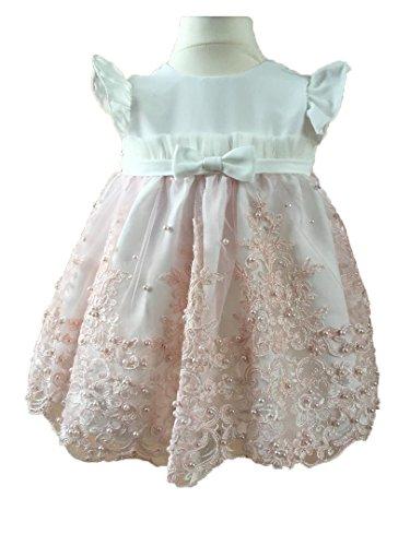 Soffi Kids Edel Festkleid Taufkleid mit Haarband Hochzeitskleid Spitzenkleid Rosa (74)