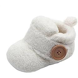 BYSTE Scarpe per Bimbo Bambino Pantofole Inverno Bambina Scarpe Caldo Molle Peluche Tinta Unita Scarpe Prima Infanzia Scarpe Singole Scarpe Pigre (9-12 Mesi, Bianca)