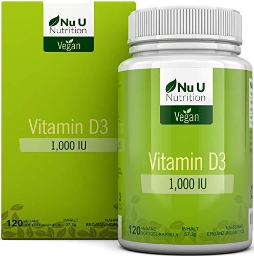 Vitamin D3 Vegan 1.000 IE | 120 Vegan Vitamin D Softgelkapseln - Vorrat für 4 Monate | Vitamin D-Nahrungsergänzungsmittel Frei von Allergenen und Gentechnik | Hergestellt in Großbritannien