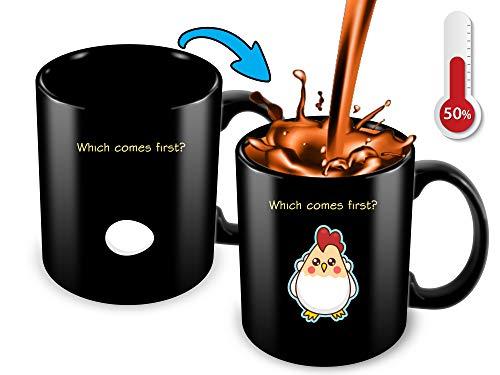 Kaffeebecher, wärmeempfindlich, farbwechselnd, lustige Kaffeetasse, die zuerst das Huhn oder das Ei kommt, lustige Geschenkidee (Lustige Witze Halloween-zitate)