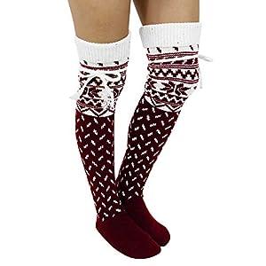 BaZhaHei Damen Mode Bequem Socken Winter Warm Neue Schenkel-hohe Lange Strümpfe Stricken über Knie-Socken Weihnachten…