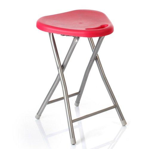 Sgabello pieghevole in acciaio e MDF, modello Basic, colore: rosso
