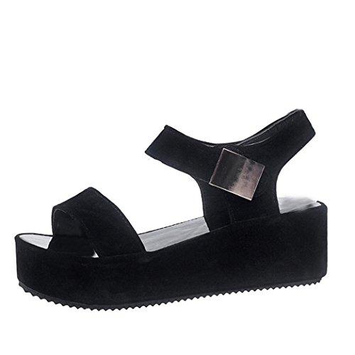 Sandalias mujer, ❤️ Manadlian 2018 Sandalias de verano para mujer Chancletas Zapatos Peep-toe Sandalias romanas Zapatos bajos (CN:37, Negro)