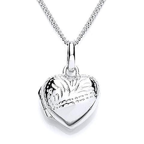 MiChic Children's Rhodium Plated Silver Childs Half Engraved Heart Locket on a 36-41 cm Chain
