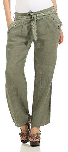 Mississhop 269 Damen Leinenhose lockere Freizeithose Lange 100% Leinen Hose Uni Elegante Stoffhose Haremshose Oliv XXL - Elegantes Shirt Hose