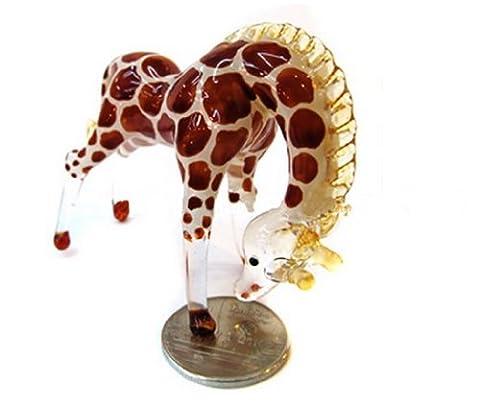 Murano COLLECTIBLE MINIATURE main soufflé Art verre petite girafe, tête baissée, FIGURINE brun foncé