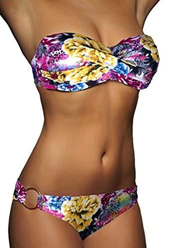 ALZORA Twist Push Up Bandeau Bikini Set Damen Pushup Badeanzug viele Farben und Größen (S, Zebra)