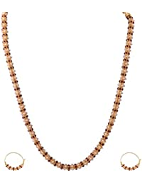 Ganapathy Gems 1 Gram Gold Plated Necklace Set With Red Stones And Pearls For... 6551