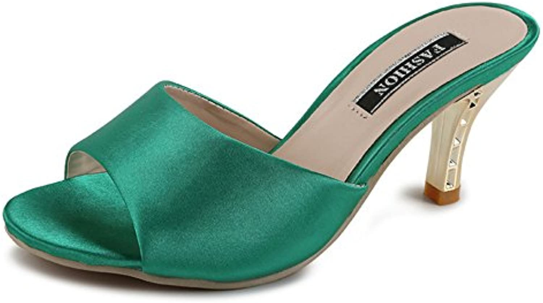 Zapatos de mujer de cuero sandalias de confort de verano Zapatillas de boca de pescado de tacón alto de la moda...