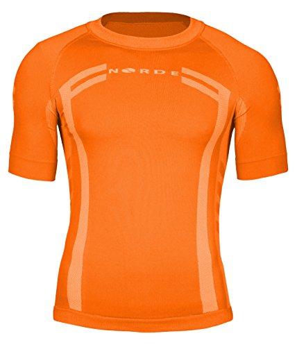 NORDE Herren Funktionswäsche Thermoaktiv Atmungsaktiv Base Layer Kurzarm Outdoor Radsport Running (Orange, XXL)