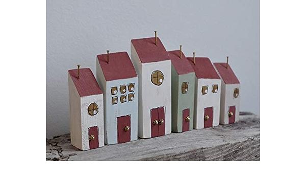 2er Set Deko Haus Holzhaus Shabby Chic Dekohaus wei/ß braun H/äuser
