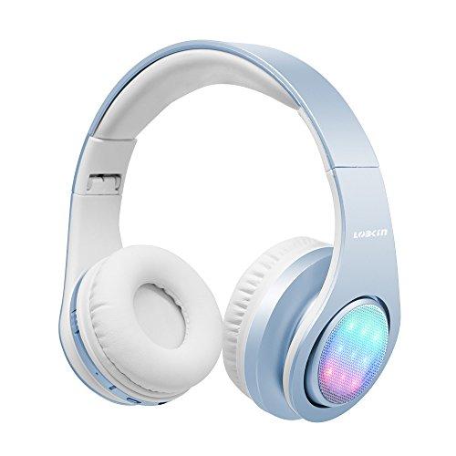 Cuffie bluetooth stereo lobkin wireless headphones pieghevole over-ear auricolari senza fili bluetooth 4.0 cuffia microfono ricaricabile con led , per iphone 7/7 plus/6s/6/5s/se, samsung galaxy s6/s6 edge, huawei, xiaomi sony lg e altri smartphone e computer (azzurro)