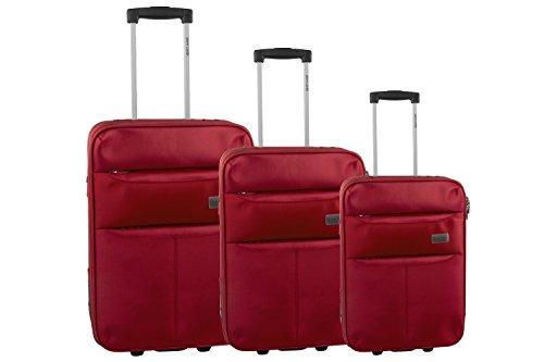 3 Maletas semirrígidas PIERRE CARDIN rojo cabina para viajes S252