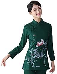 YueLian Mujeres Retro Modificado Mezcla de Cáñamo Manga Larga Loto Saco Traje Chino Top Verde Oscuro