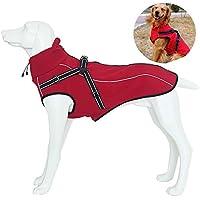 JunBo Hundemantel Hundejacke Winter Warme mit Verstellbaren Riemen und Reflektierenden Streifen für Mittlere und Große Hunde (M, Rot)