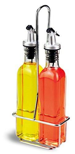 A|M|I|N|A Essig und Öl Spender Set - 3-teilig, 2 x 250 ml Ölflasche und Halterung | Auslaufsicher und Tropffrei | mit Anti-Schmutz Verschluss