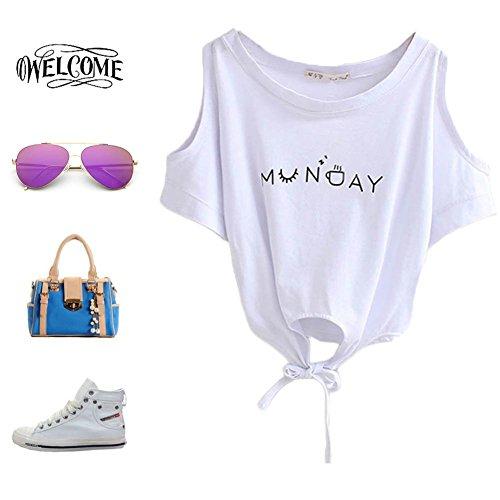 ROPALIA Damen Baumwolle Crop Top Sommer Crop T Shirt Bluse Weiß