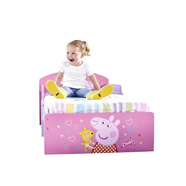 Peppa Pig Kids Toddler Bed by HelloHome Peppa Pig. Snuggle in after a day of play in this Peppa Pig Toddler Bed Perfect size for toddlers, low to the ground with protective and sturdy side guards to keep your little one safe and snug Fits a standard cot bed mattress size 140cm x 70cm, mattress not included. Part of the Peppa Pig bedroom furniture range from HelloHome 24