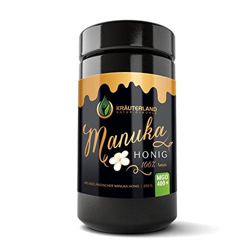 Kräuterland Manuka Honig, MGO 300+/400+/500+, in Größen 250g/500g, zertifizierter MGO Gehalt, Miron-Violettglas, Naturprodukt, frisch aus Neuseeland (250g / MGO 400+) - Manuka-honig Süßen