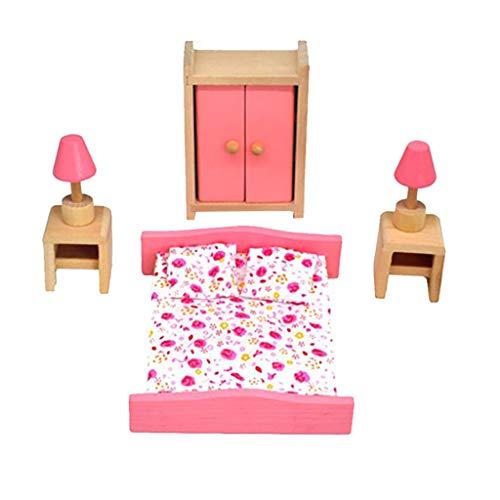 Eliasan Holz Puppenhaus Möbel Set Holz Miniatur Badezimmer Wohnzimmer Schlafzimmer Küche Haus Dekoration Zubehör Pretend Play Kinder Spielzeug Rosa Farbe (Rustikal-media-möbel)