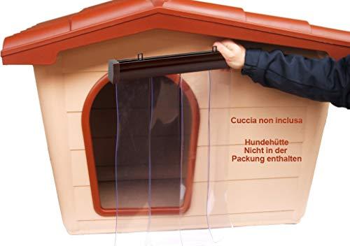 Tendina Parafreddo per cuccia in Pvc trasparente antipioggia vento antinsetti Barriera mobile (L 45 x 55 H, Profilo Marrone)