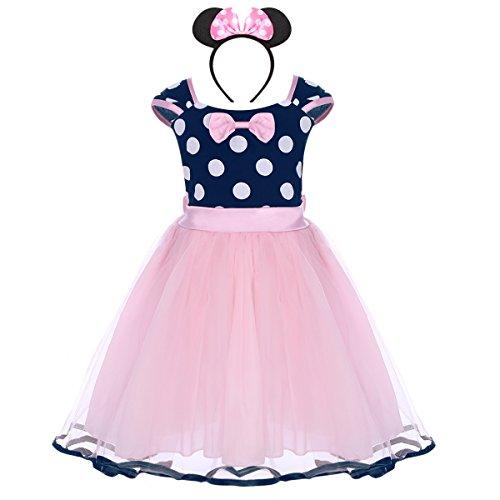 Costume per halloween o carnevale da minnie, per bambina polka dots tutu principessa abiti per natale festa cerimonia compleanno comunione ballerina fotografia cosplay travestimento rosa 6-12 mesi