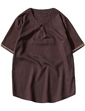 V-cuello De Botones De La Placa De Algodón Camisa De Manga Grande De Las Yardas De Los Hombres Sueltos Camisa...