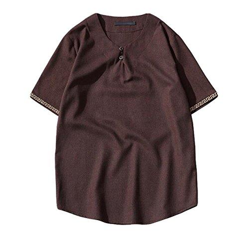 Camicia maniche tasti del piatto cotone del v-collo grandi cantieri uomini allentata della camicia casuale,coffeecolor-xl