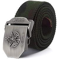 LLZGPZPD Cinturón De Lona Cinturón De Lona Chino Navy Estrella 3D Hebilla De Cinturón De Aleación Militares Cinturón Cinturón Táctico del Ejército para Hombres Correa Macho Azul, Camuflaje, 150 Cm