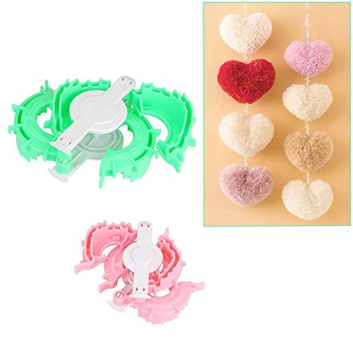 Pompom-Maker Abstandshalter, 2 Stück in Herzform, Bommelform, Webbälle zum Basteln, 5 cm x 7 cm (Maker Stirnband Kit)