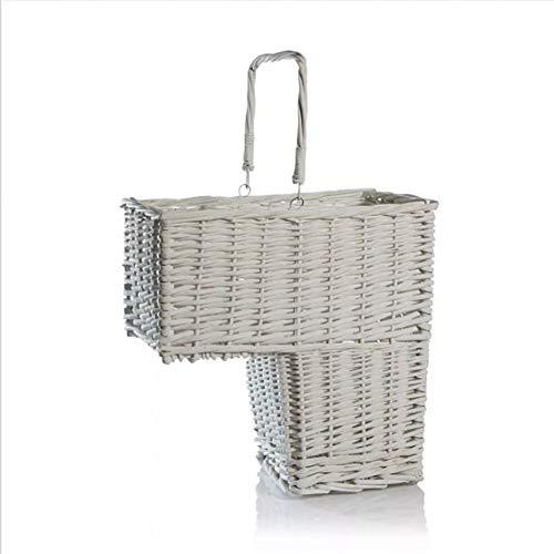 RFVNAC White Woven Wicker Treppen Schritt Korb Wäsche Aufbewahrungsbox Kosmetikbox mit Griff Container Aufbewahrungskorb -