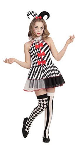 Forever Young Mädchen-Kostüm Harlekin, Jester, Halloween-Kostüm Gr. Alter 11-12, Schwarz/Grau